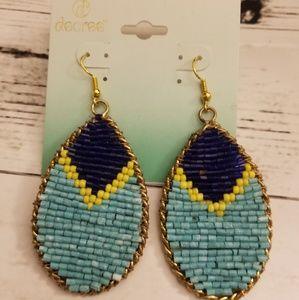 Blue & Yellow seedbead teardrop earrings nwt boho